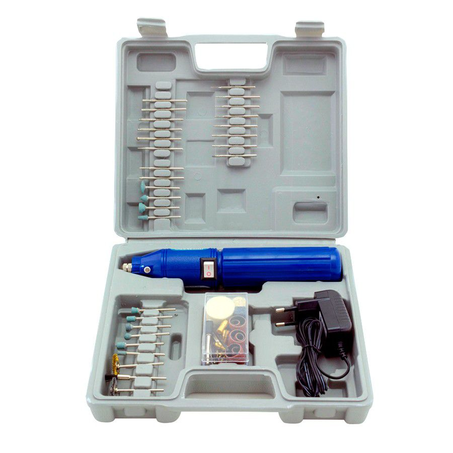 Mini Retífica Elétrica Sem Fio Bivolt Com 60 Acessórios