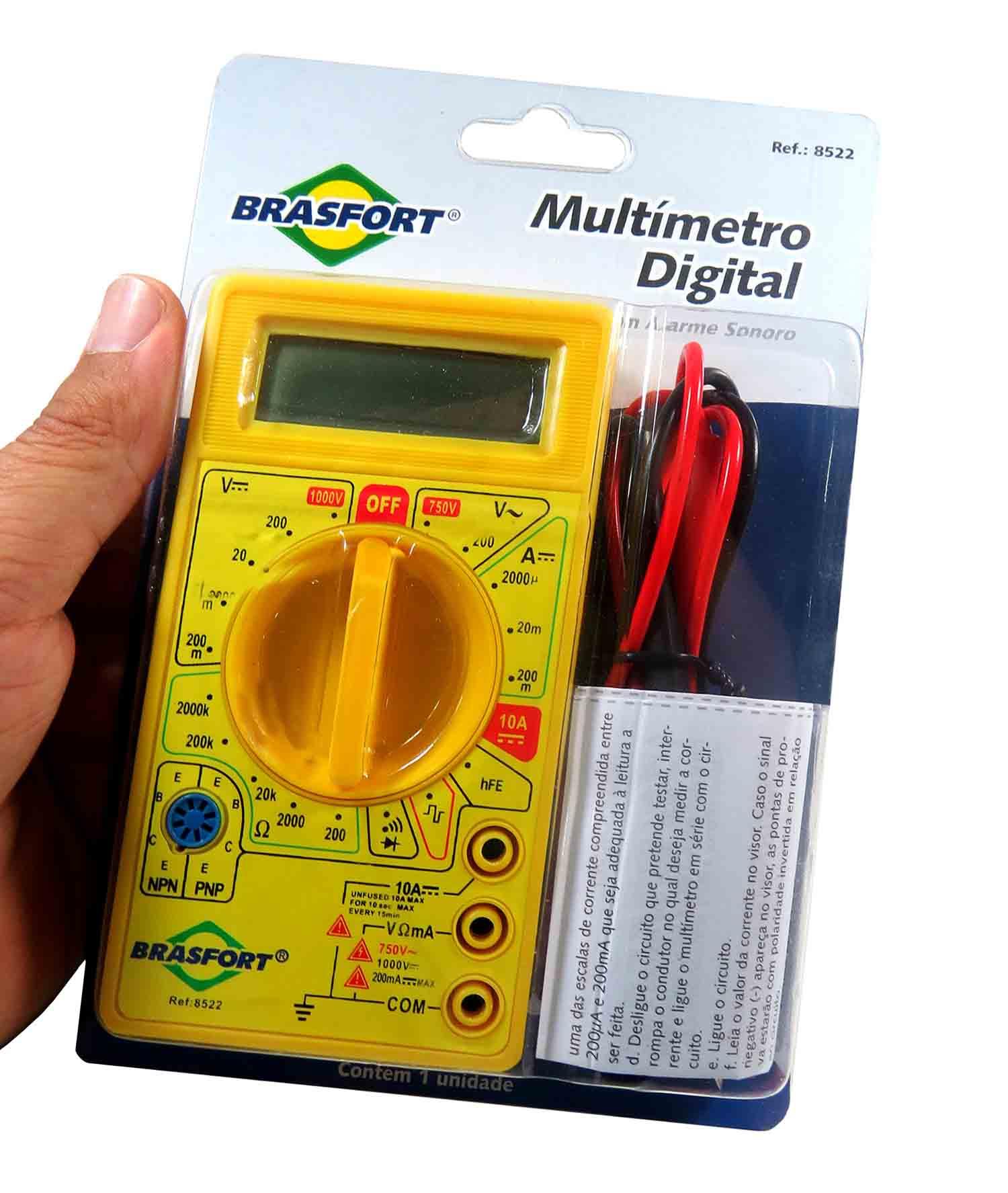 Multímetro Digital Com Alarme Sonoro Multiteste Brasfort 8522