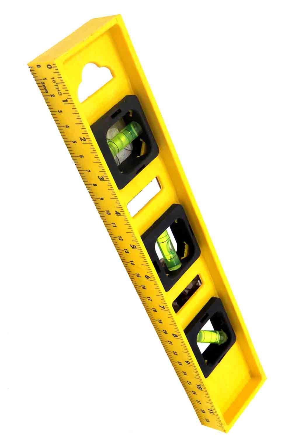 Nível De Plástico 300mm Amarelo Com 3 Bolhas Toolmax