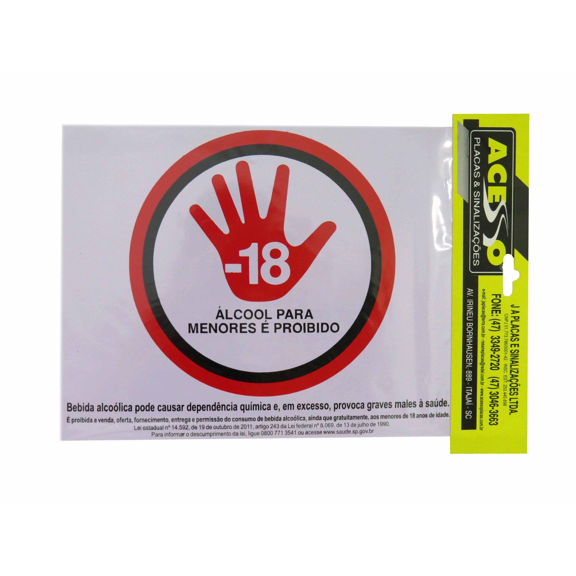 Placa Aviso -18 Alcool Para Menores é Proibido