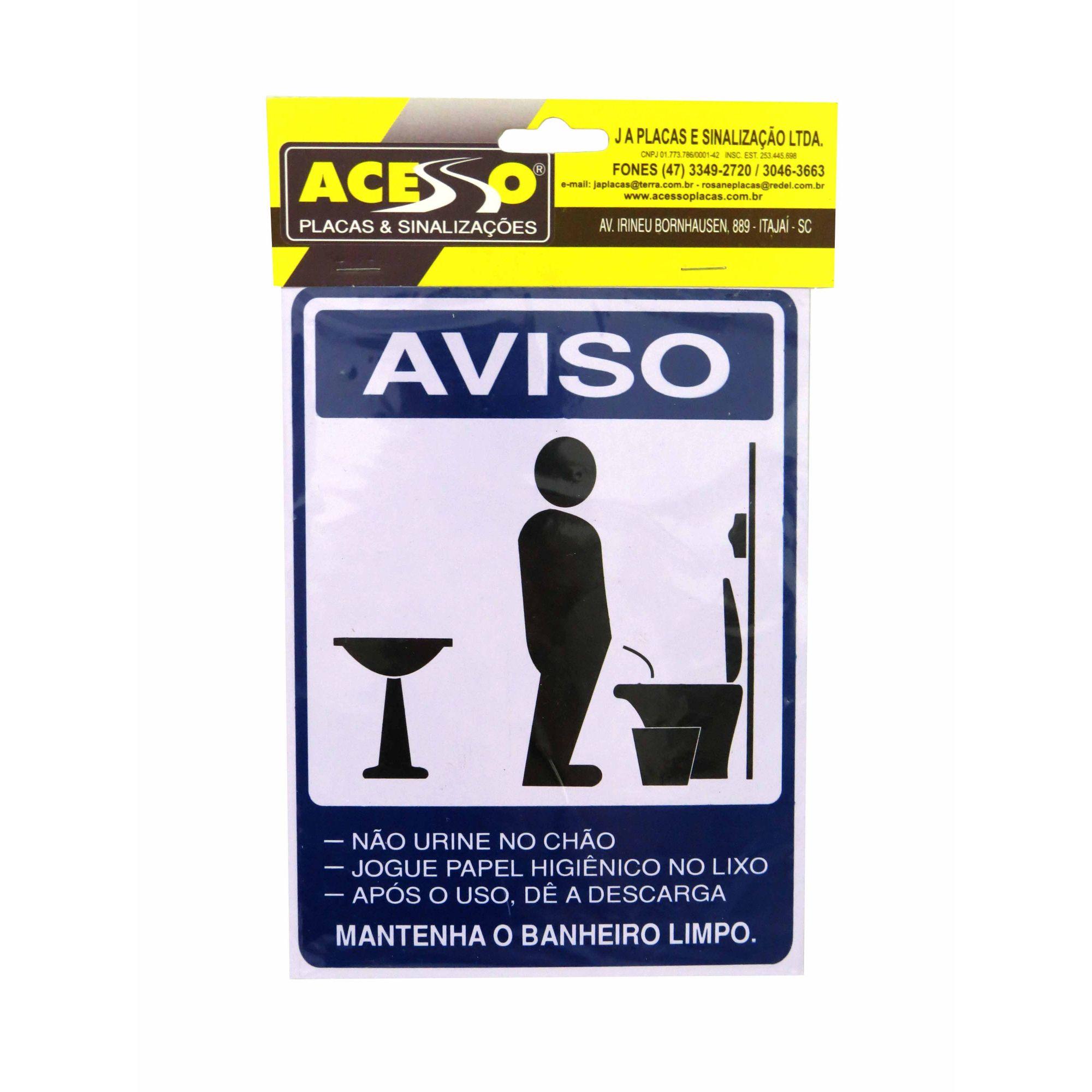 Placa Aviso Mantenha o Banheiro Masculino Limpo (E)