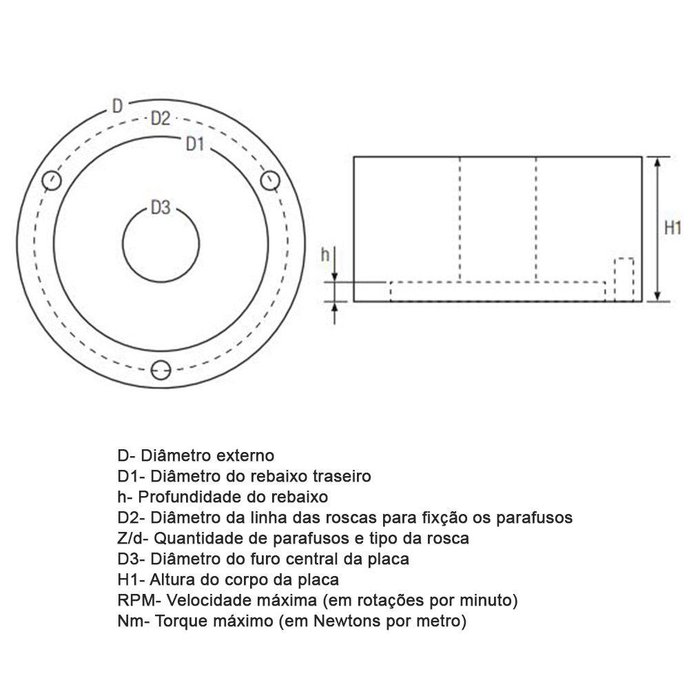 Placa para Torno 160mm 3 Castanhas Reversíveis Champion CDO