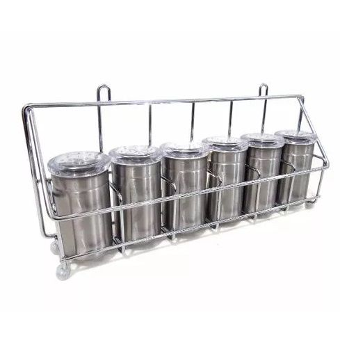 Porta Condimentos Temperos Inox 6 Potes Organizador