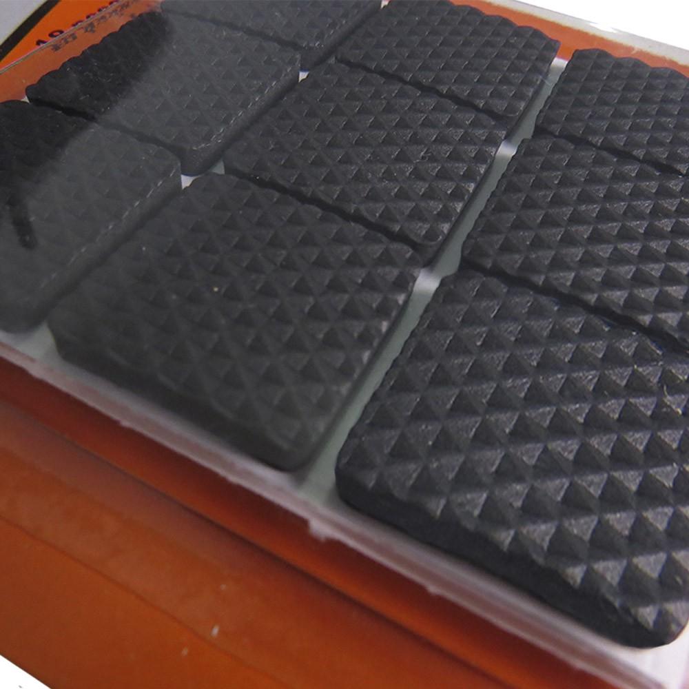 Protetor Pé Feltro Adesivo Quadrado EVA Preto 2,5cm 18 peças