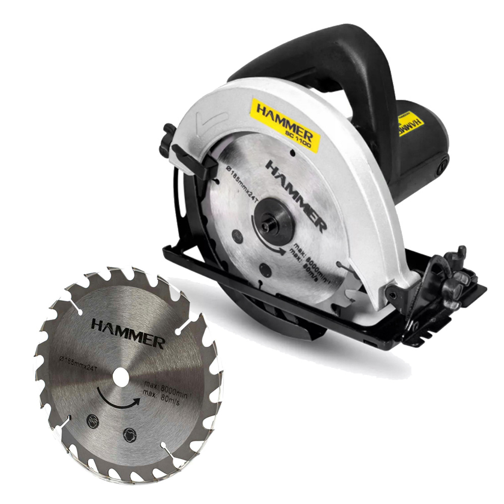 Serra Circular Para Madeira 7.1/4 Pol 1100 Watts - SC1100 127V - Hammer