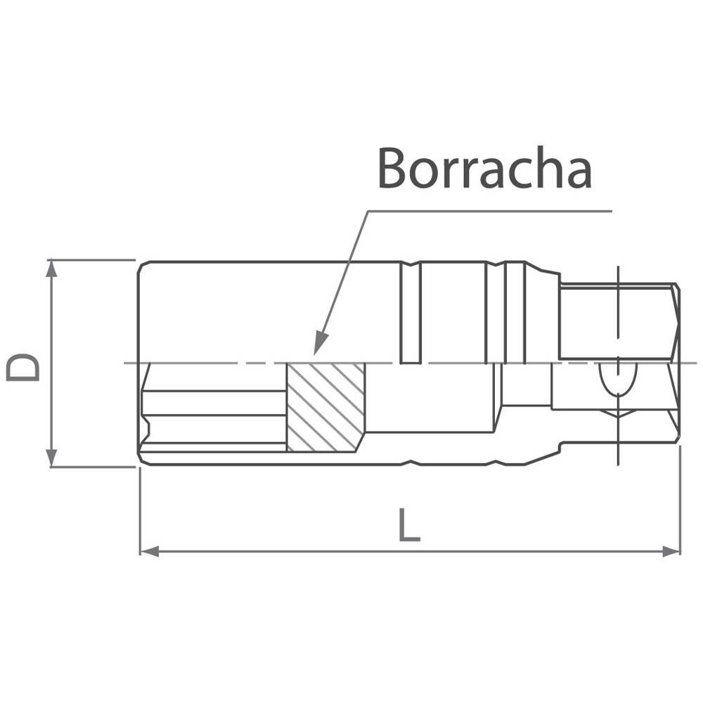 Soquete de Vela 1/2 Pol Sextavado Longo 16mm com Borracha King Tony