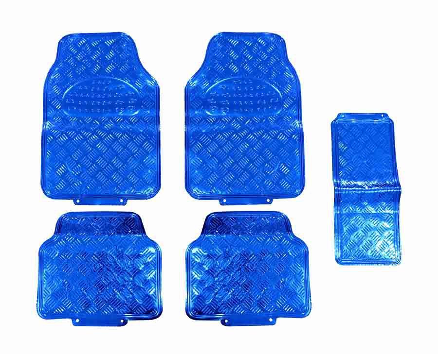 Tapete Carro Automotivo 5 Peças Cromado Azul Universal