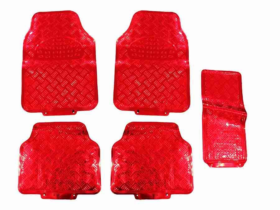 Tapete Carro Automotivo Cromado Vermelho Universal 5 Pçs