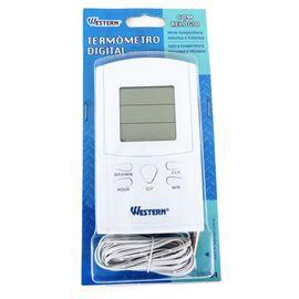 Termômetro Digital Com Relógio Ambientes Interno E Externo