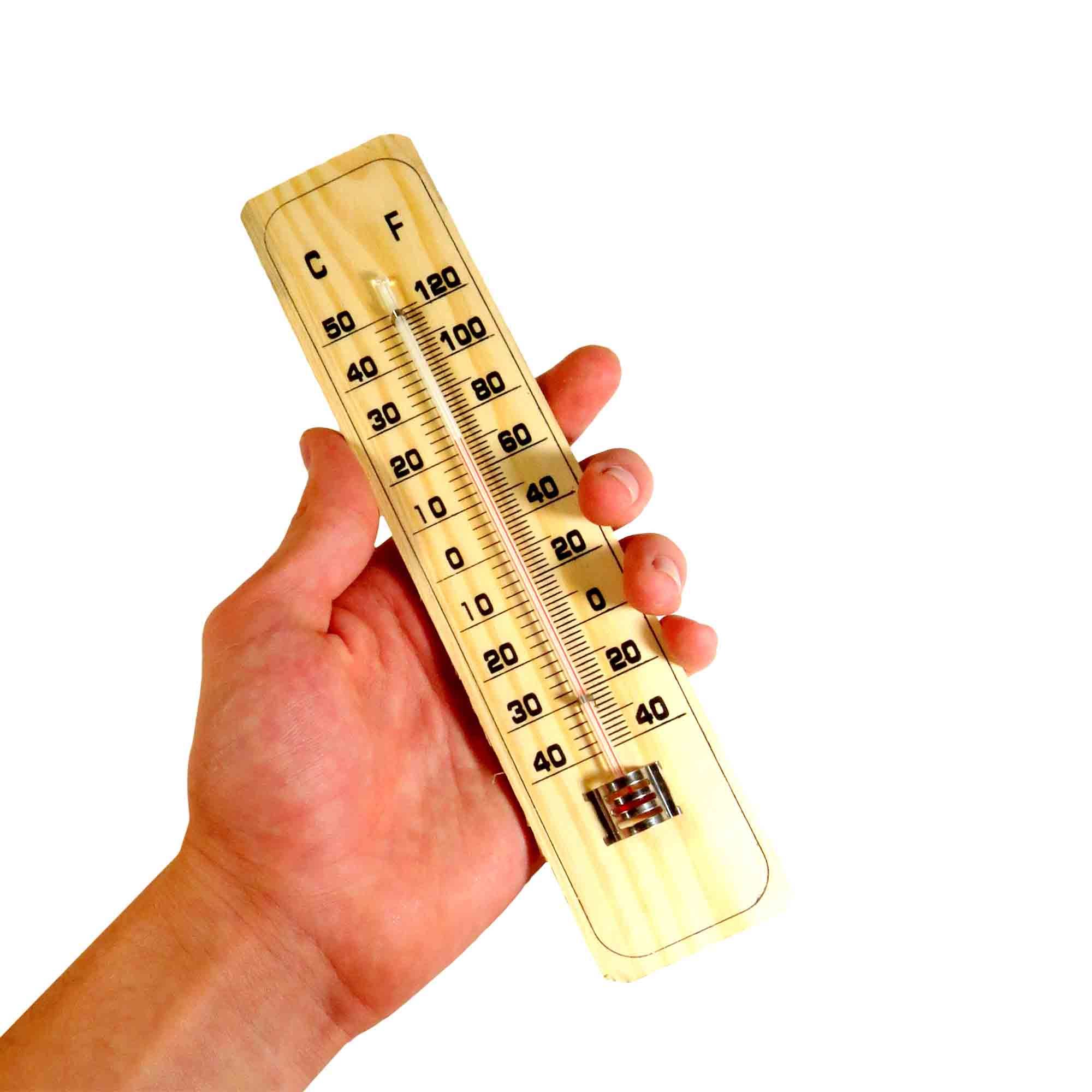 Termômetro Para Ambiente Graduação Celsius Fahrenheit Madeira