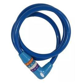 Trava Antifurto Azul Cabo De Aço Para Bicicleta 12x1000mm