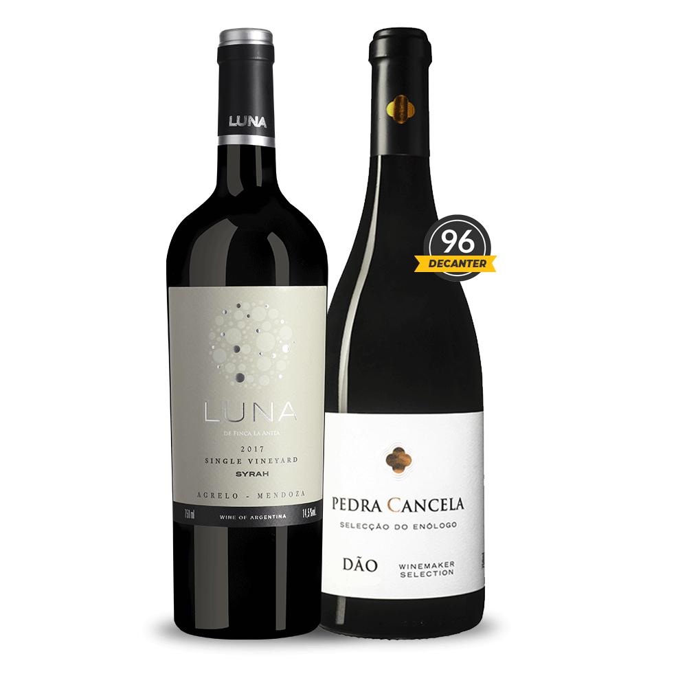 BOX Outono 1 Vinho Pedra Cancela Seleção do Enólogo Tinto 750ml e 1 Vinho Luna Agrelo Malbec 750ml