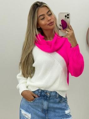 Blusa Tricot Gola Boba POT 51 Pink