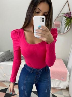 Body ML Canelado Mg. Princesa DUD 47 Pink