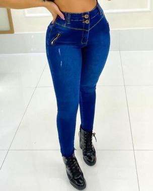 Calça Jeans 02 Botões Ziper MLD 9911