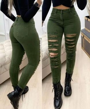 Calça Jeans Verde Militar Destroyed CCJ 663