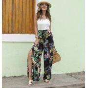 Calça Pantalona Floral com Fenda PLT 09