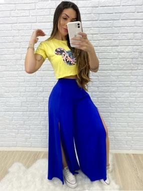 Calça Viscose Luxo Pantalona LDO 79 - Cor: Azul Royal
