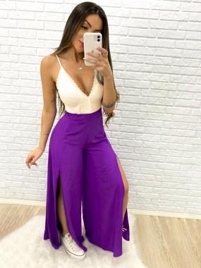 Calça Viscose Luxo Pantalona LDO 79 - Cor: Roxo
