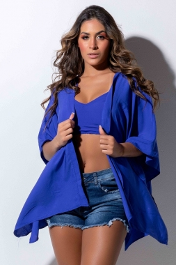 Conjunto Cropped e Kimono LDO 78 - Cor: Azul Royal