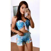 Conjunto Shorts E Cropped Laço Mb 3454