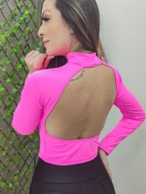 Cropped Poliamida Costas Abertas GTB 16 Pink