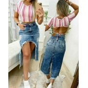 Saia Jeans Midi Aberta CCJ 723