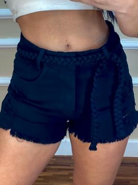 Shorts Jeans Black Braid MND 01 Preto