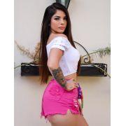 Shorts Jeans Pink Amarração MBL 255