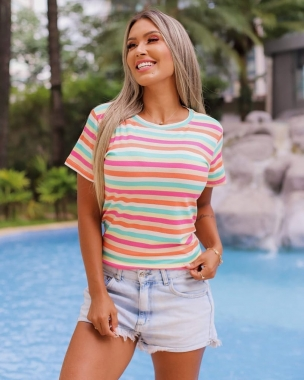 T-Shirt Arco Íris Listra Fina GBB 222