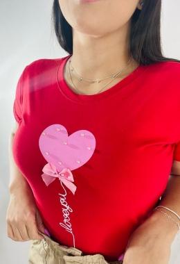 T-Shirt Coração Laço WGR 43 - Vermelho