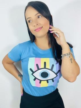 T-Shirt PLUS Olho Grego WGR 11 - Azul Claro