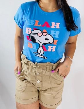 T-Shirt PLUS Shoopy Blah WGR 08 - Azul Claro