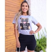 T-Shirt Pug Cinza GBB 206