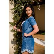 Vestido Jeans com Renda PLT 24