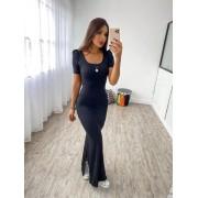 Vestido Longo Canelado Fendas DLM 26