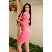 Vestido Lurex Manga Bufante AJM 99