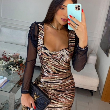 Vestido Paetê Bright Color JMD 03