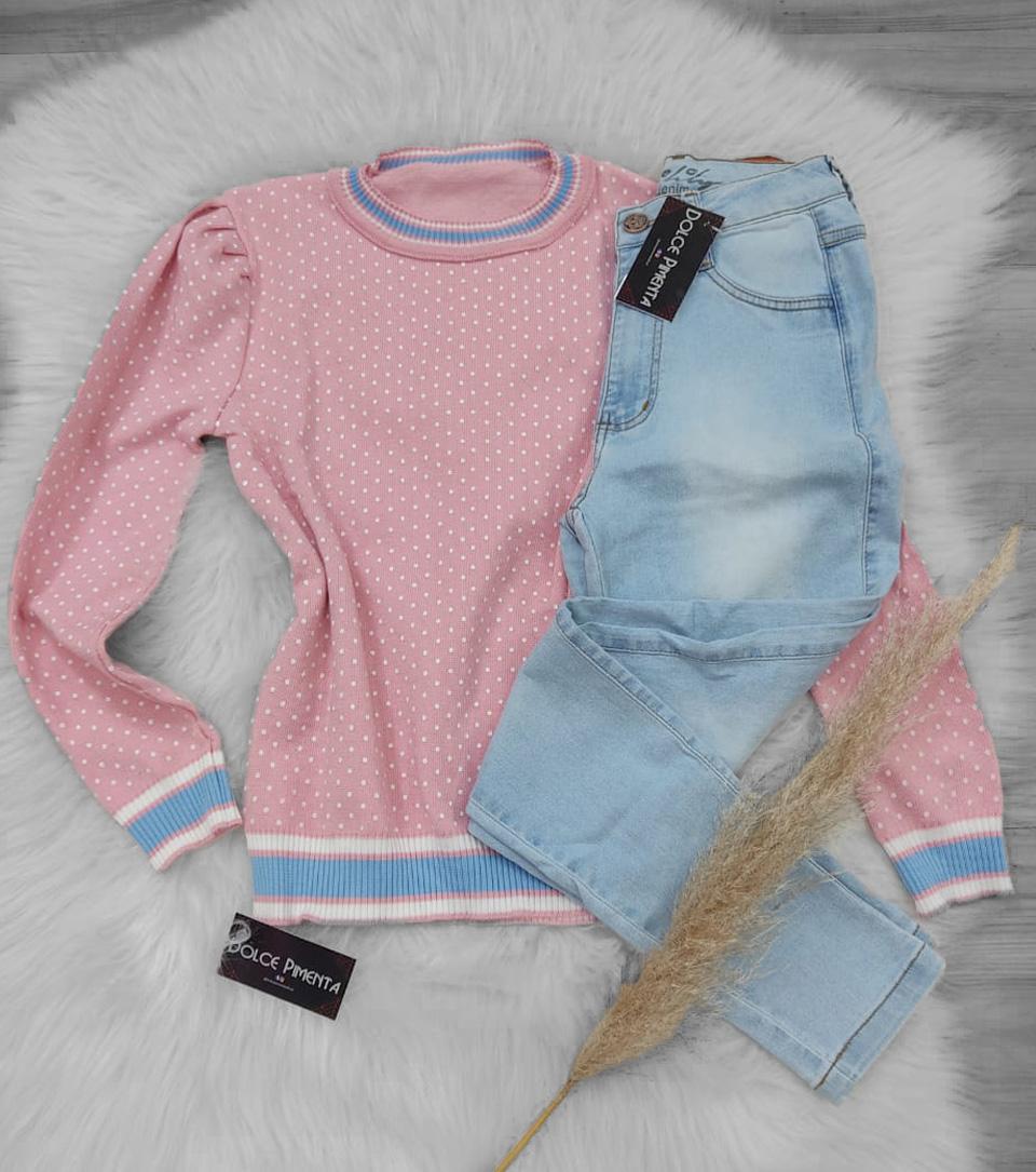 Blusa Petit Poá POT 44 Rosa Bebê