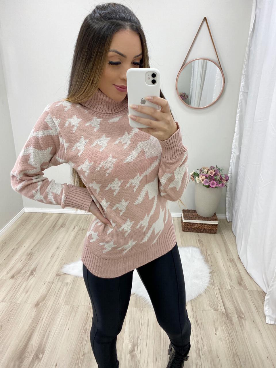 Blusa Pied de Poule POT 79 Rosê_Branco