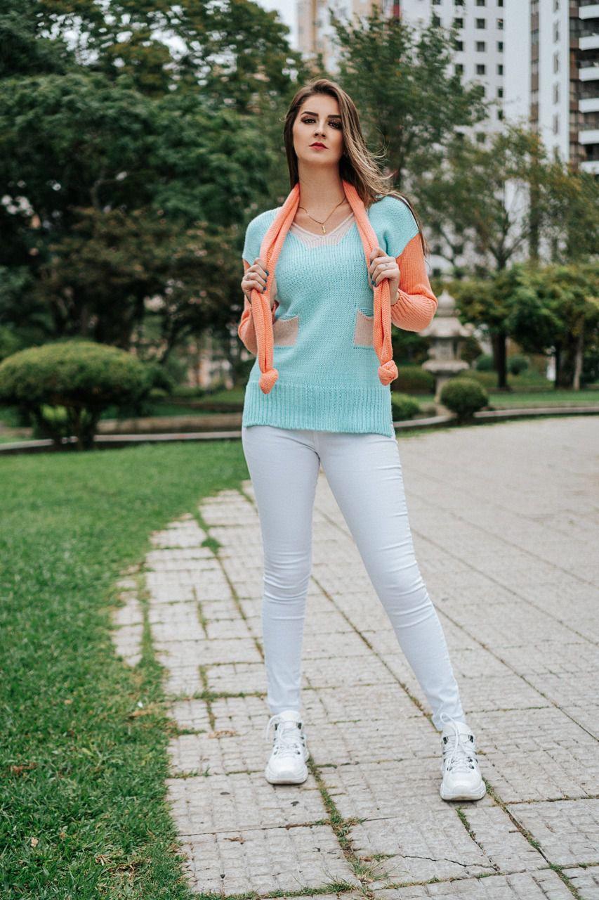 Blusa Tricô com Cachecol AJM 80
