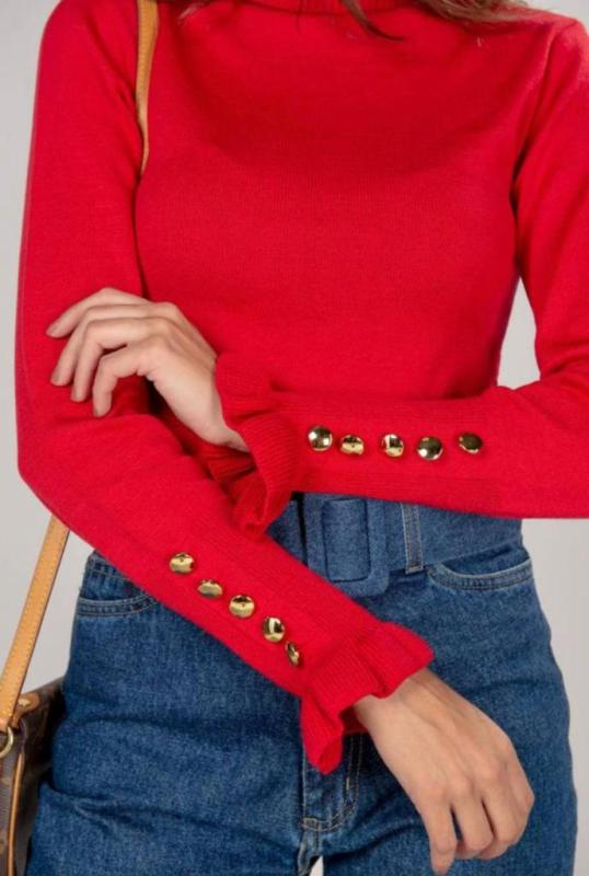 Blusa Tricot Botoes POT 65 Cores Variadas