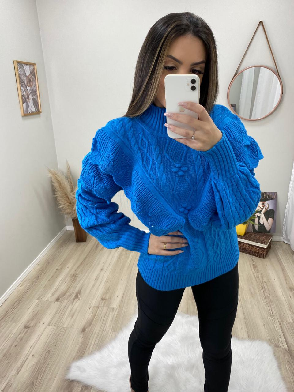 Blusa Tricot Flow POT 64 Azul