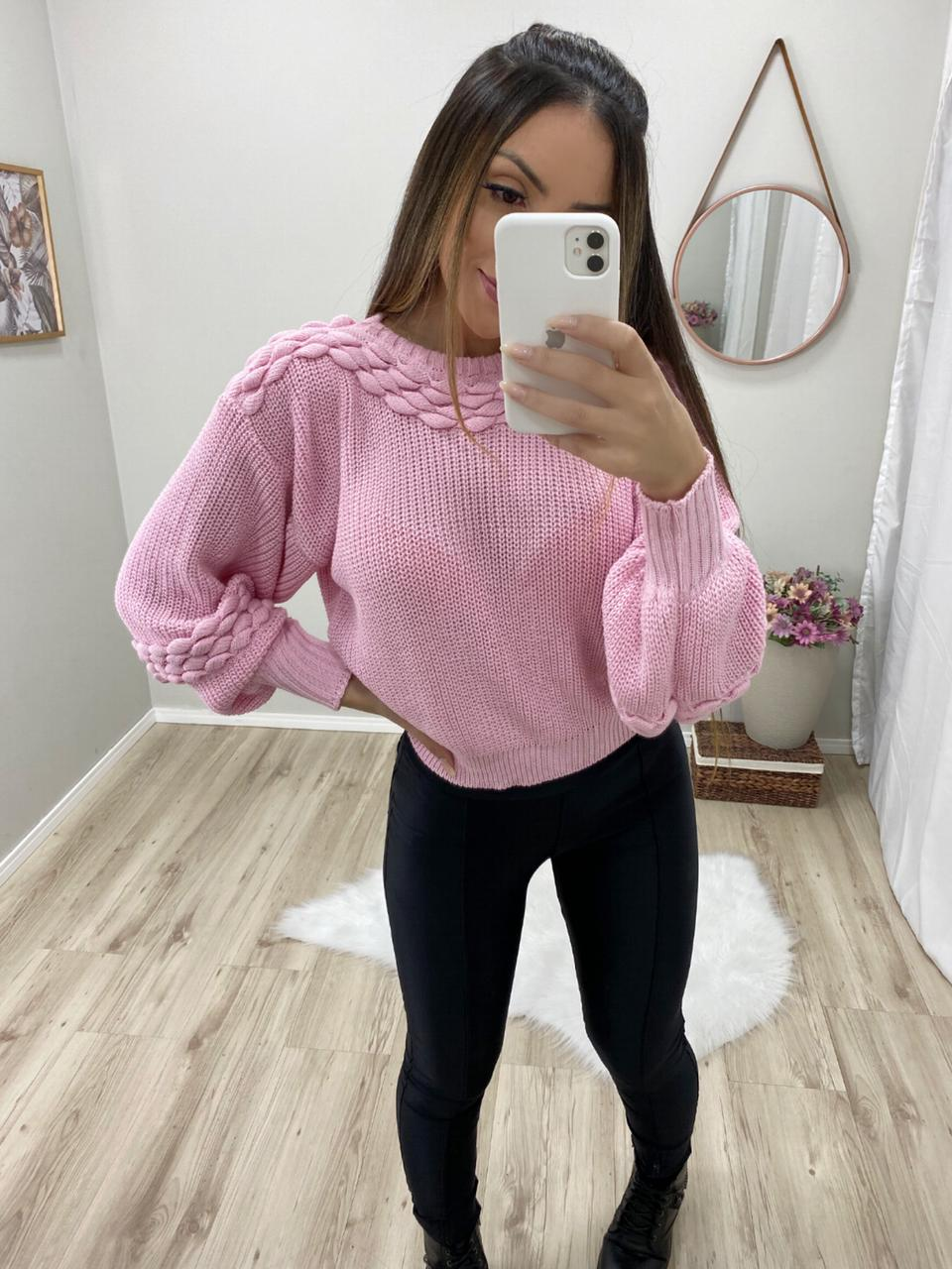 Blusa Tricot Le Cardan POT 59 Rosa Bebe