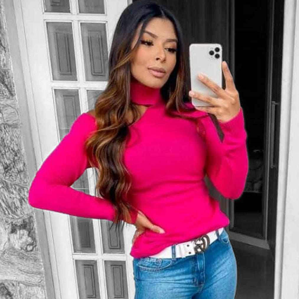Blusa Tricot Ombro Aberto POT 47 Pink