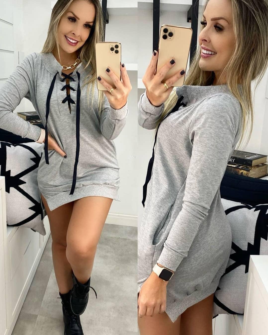 Blusão Vestido Moletom DUD 71 Cinza