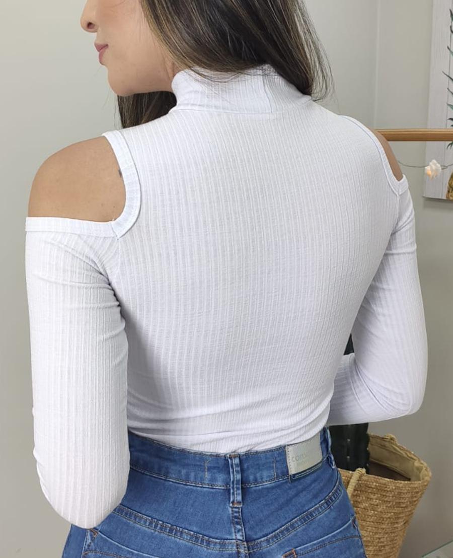 Body Canelado Ombros Vazados BCI 13 BRANCO
