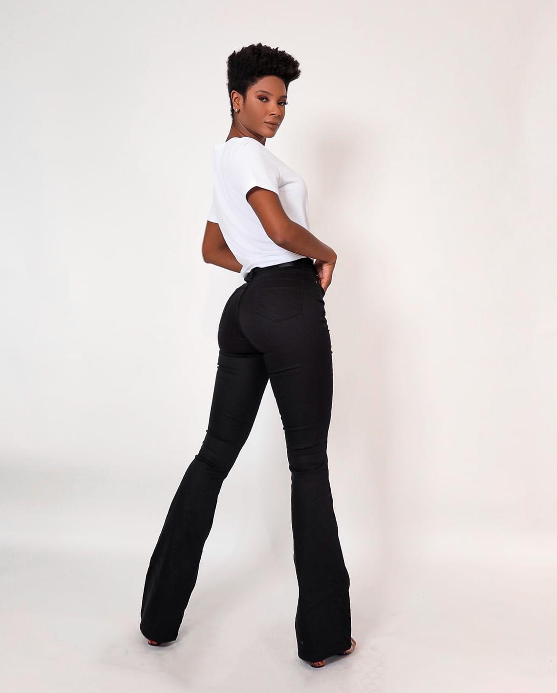 Calça Flare Preta - Ideal Para Mulheres Altas Cns 20666