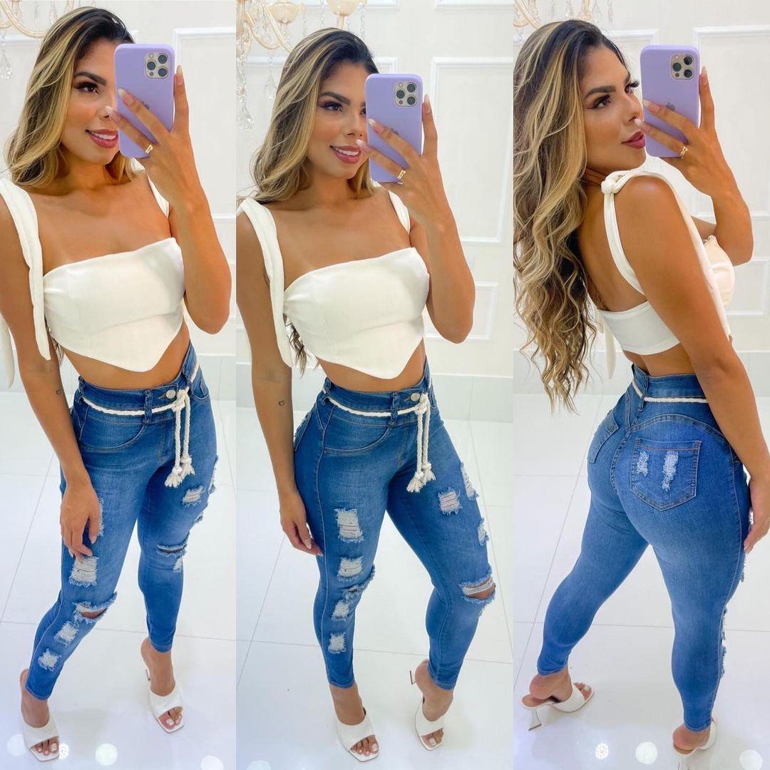 Calça Jeans Cós Alto Hot Pants MLD 52003