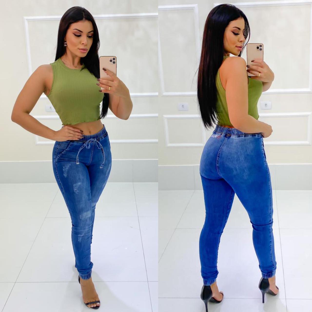 Calça Jeans Elástico Cós e Barra MLD 51827